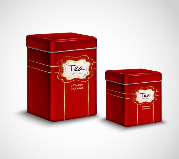 Hoogwaardige thee metalen verpakkingen en opslagcontainers Gratis Vector