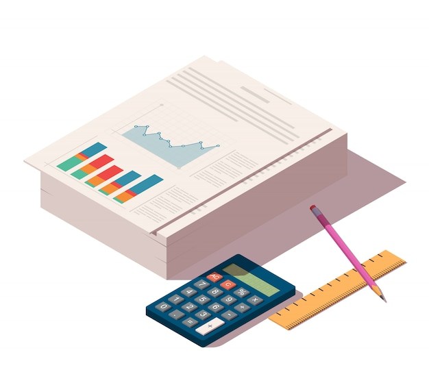 Hoop documenten met potlood, liniaal en rekenmachine Premium Vector