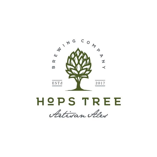 Hop en boom voor vintage bierbrouwerij logo Premium Vector