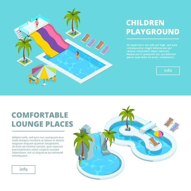 Horizontaal bannersmalplaatje met isometrische beelden van waterpark en kinderspeelplaatsen Premium Vector