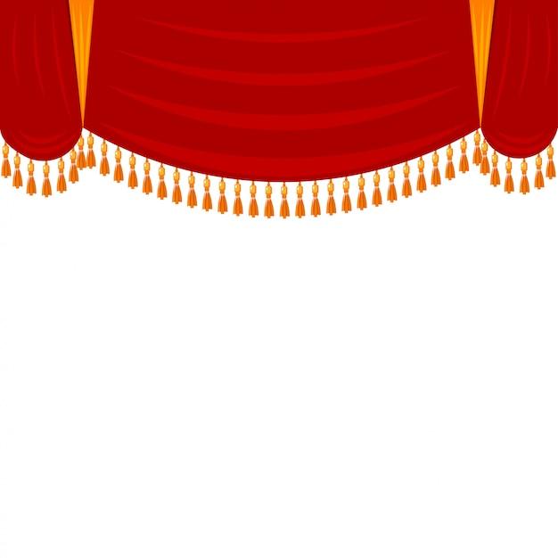 Horizontaal rood gordijn met gouden rand. theatraal landschap, harlekijn. open het gordijn voor de voorstelling in het theater Premium Vector