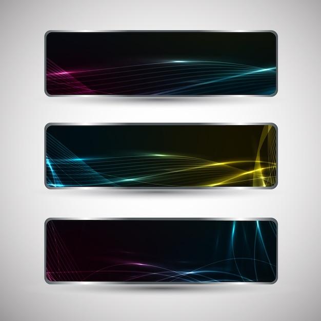 Horizontale abstracte spandoeken met golvend ontwerp en lichteffecten geïsoleerd Gratis Vector