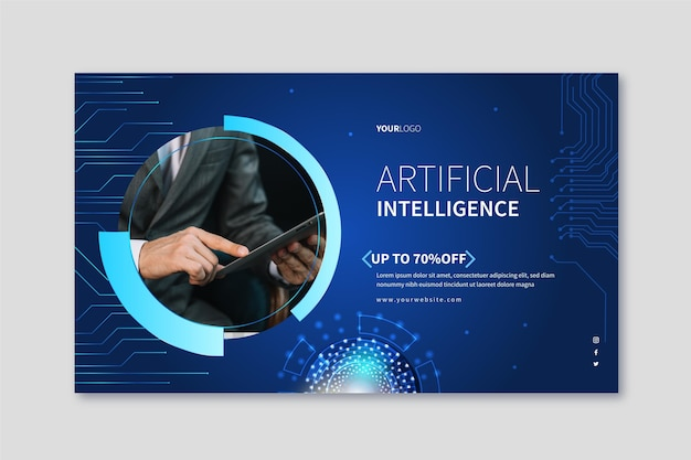 Horizontale banner voor kunstmatige intelligentiewetenschap Gratis Vector