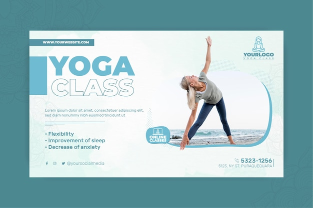 Horizontale banner voor yogapraktijk met vrouw Gratis Vector