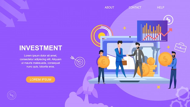 Horizontale bannerinvestering en mensen in pak maken contract voor project Premium Vector