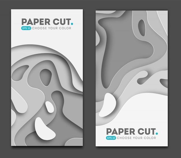 Horizontale banners met 3d-abstracte achtergrond Premium Vector