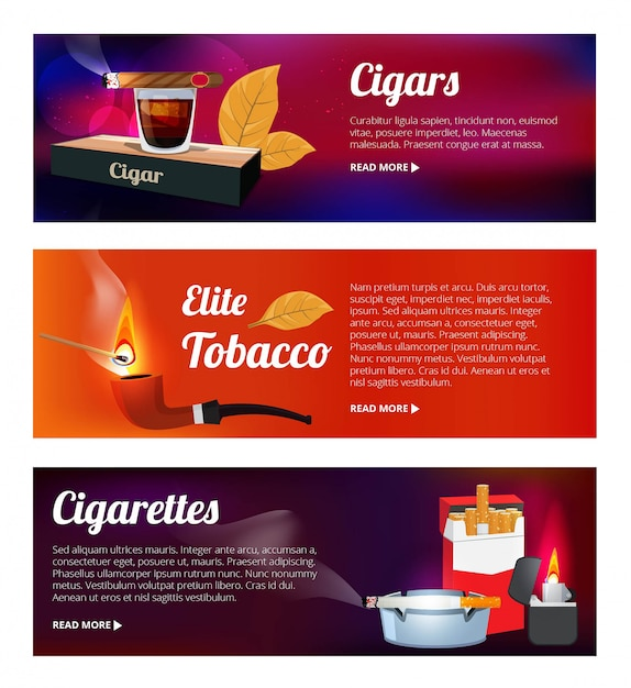 Horizontale banners met waterpijp, sigaretten en verschillende hulpmiddelen voor rokers Premium Vector
