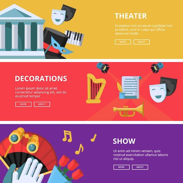 Horizontale banners van prestaties of theater Premium Vector