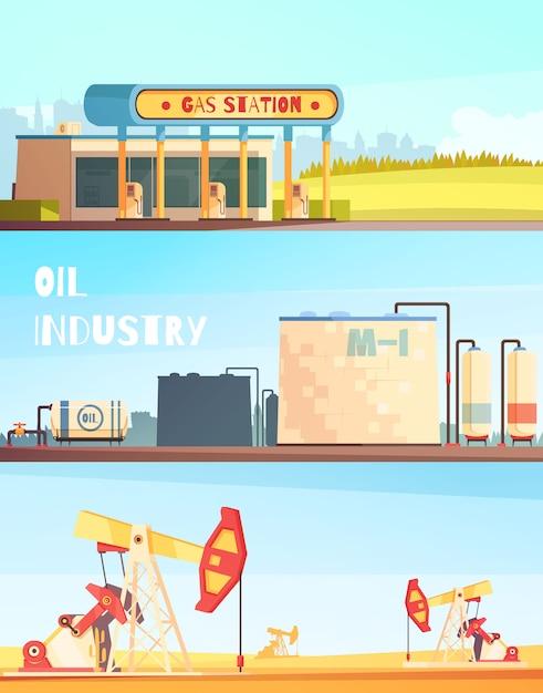 Horizontale banners voor de benzine-industrie Gratis Vector