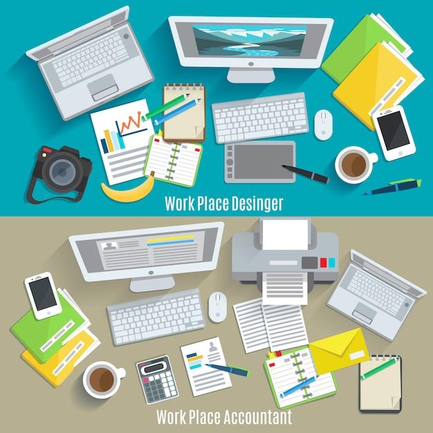Horizontale bannerset voor ontwerper en accountant Gratis Vector