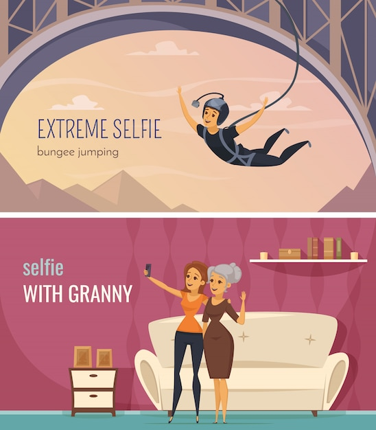 Horizontale die banners van selfie met extreme en familie selfie symbolen vlak geïsoleerde vectorillustratie worden geplaatst Gratis Vector