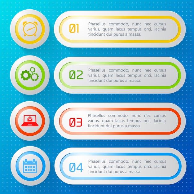 Horizontale genummerde bedrijfsbanners die met kleurrijke geïsoleerde kaders en ronde pictogrammen worden geplaatst Gratis Vector