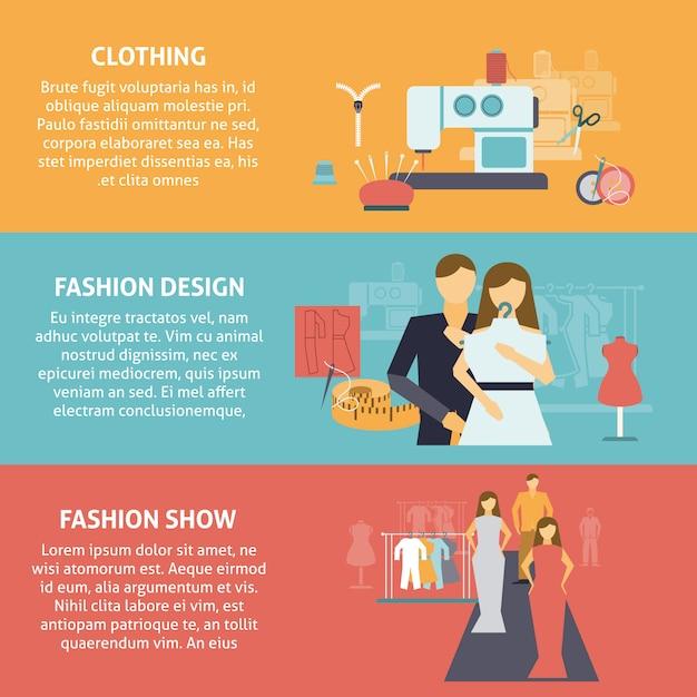Horizontale geplaatste banners van de klerenontwerper Gratis Vector