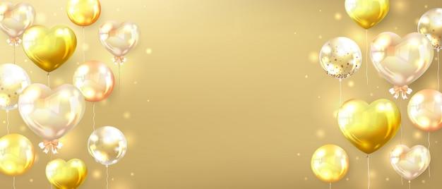 Horizontale gouden banner versierd met glanzende gouden ballonnen Gratis Vector