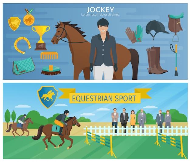 Horizontale kleuren decoratieve banners die jockey met materiaal en paard afschilderen Gratis Vector