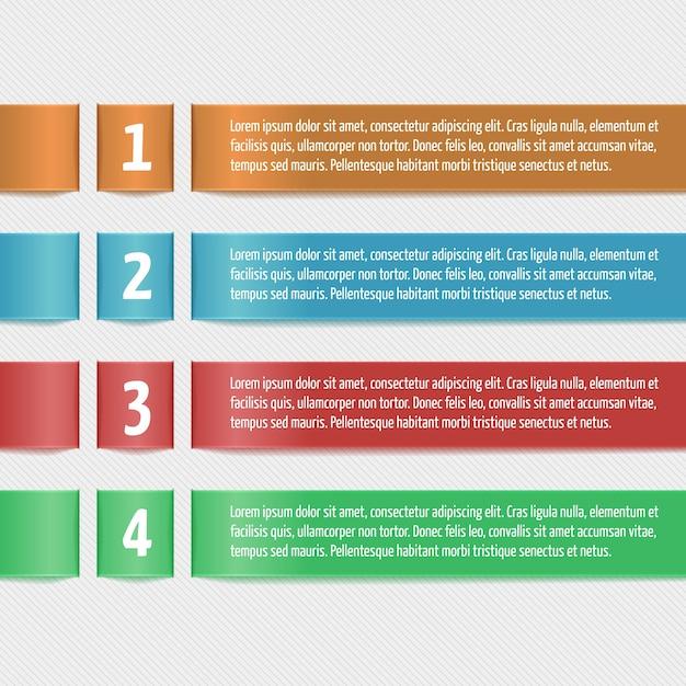 Horizontale linten met cijfers. modern ontwerp sjabloon voor bedrijfs infographic. sjabloon voor banners, kaarten, papieren ontwerpen, website layouts, presentaties etc. vector eps10. Gratis Vector
