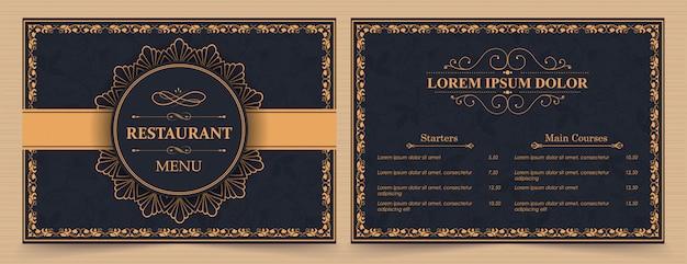 Horizontale menusjabloon met decoratieve elementen. Premium Vector