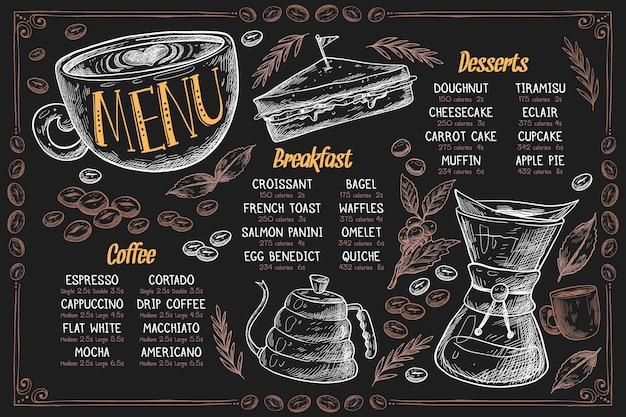 Horizontale menusjabloon met dessert en koffie Gratis Vector