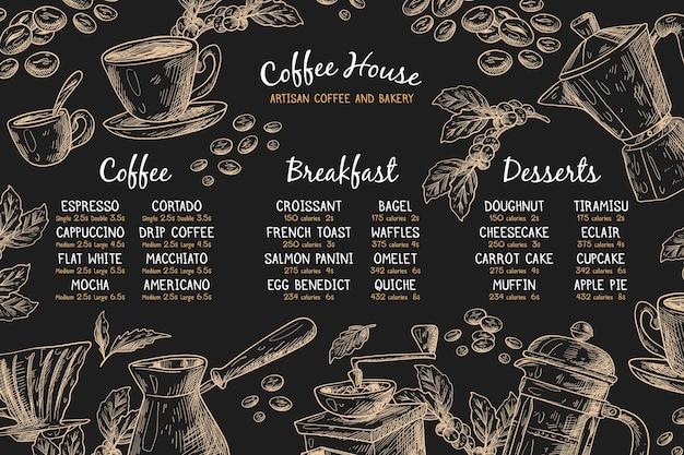 Horizontale menusjabloon met koffie Gratis Vector
