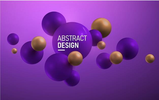 Horizontale paarse en gouden ballen. abstract. Premium Vector