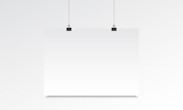 Horizontale poster realistische mock met opknoping Premium Vector