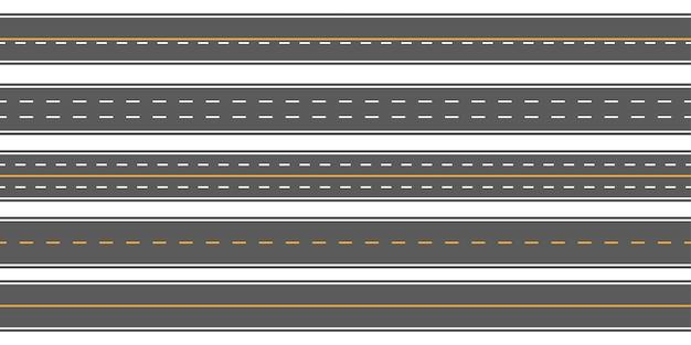 Horizontale rechte naadloze wegen, weg, snelwegen Premium Vector