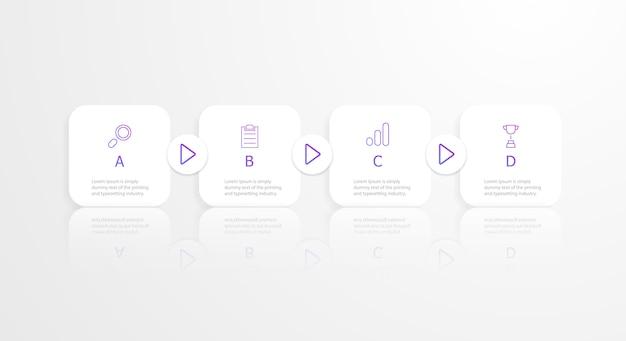 Horizontale vierkante tijdlijn infographics 4 stappen Premium Vector