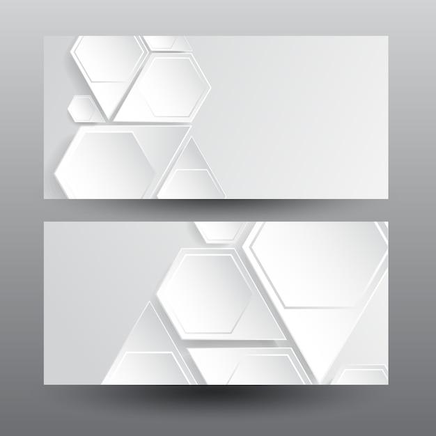 Horizontale webbanners met lichte zeshoekige structuur Gratis Vector