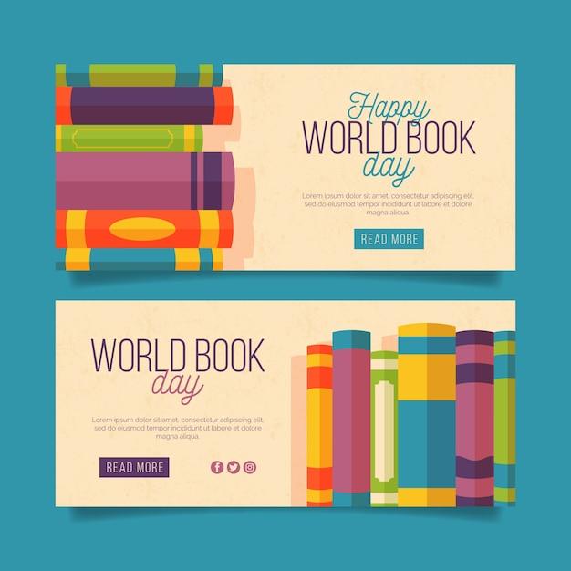 Horizontale wereldboek dag banners Gratis Vector