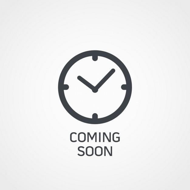 Horloge pictogram met binnenkort tekst Gratis Vector