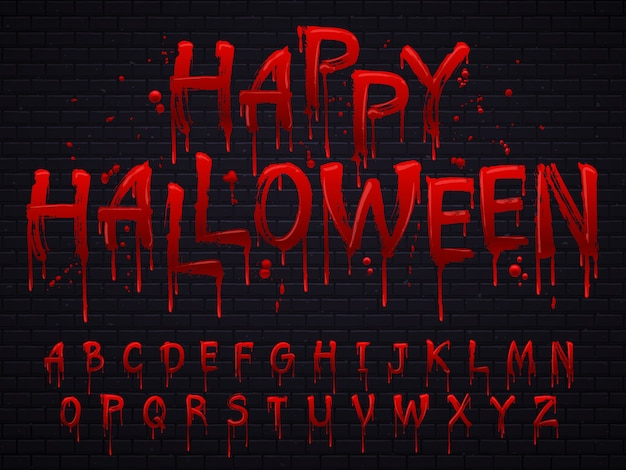 Horror alfabetletters geschreven met bloed Premium Vector