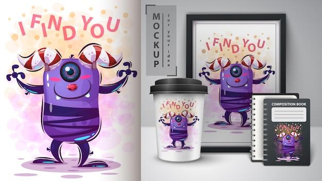 Horror poster en merchandising Premium Vector