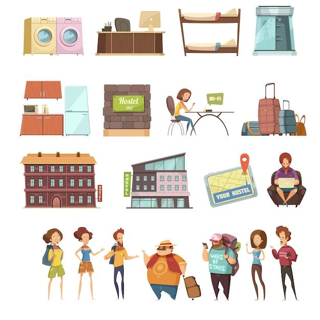 Hostel geïsoleerd retro pictogrammen instellen in cartoon stijl Gratis Vector