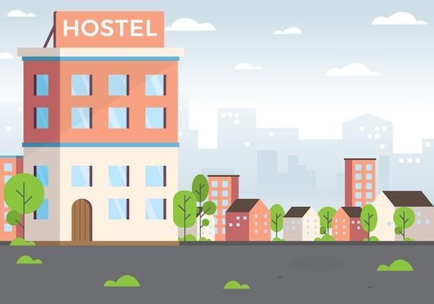 Hostel illustratie Premium Vector