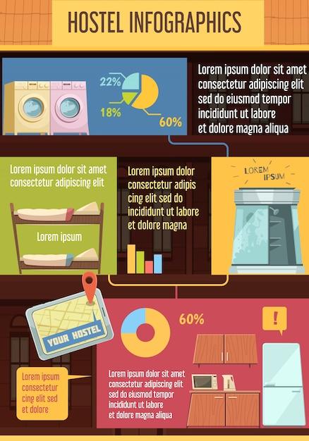 Hostel infographics sjabloon met elementen Gratis Vector