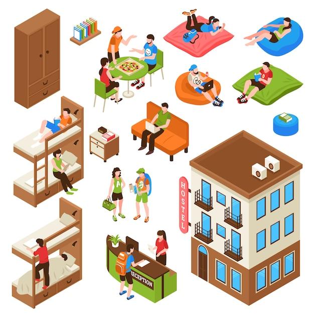 Hostel isometrische icons set Gratis Vector