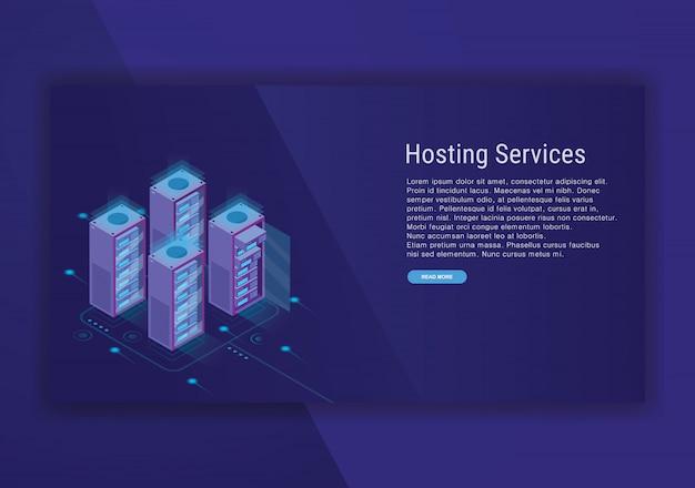 Hosting services isometrische ontwerpsjabloon Premium Vector