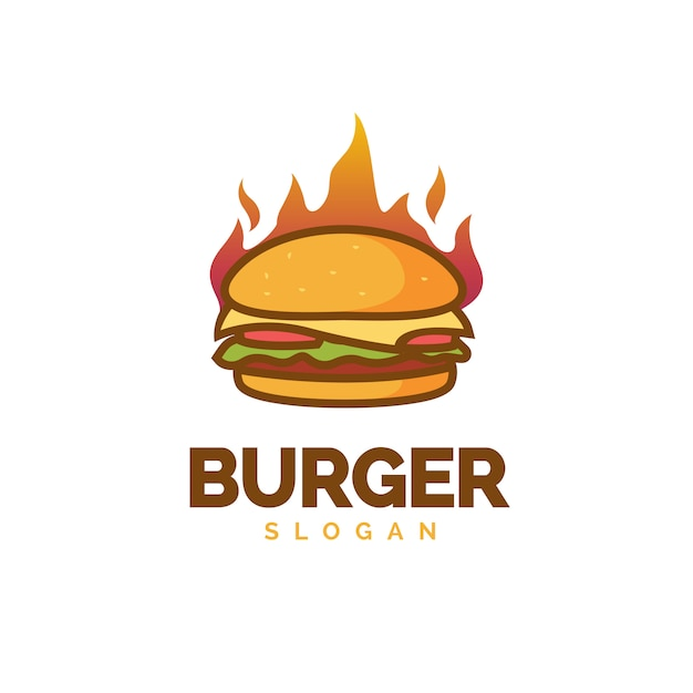 Hot burger-logo Premium Vector
