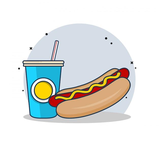 Hot dog met soda clipart illustratie. fastfood clipart concept geïsoleerd. platte cartoon stijl vector Premium Vector