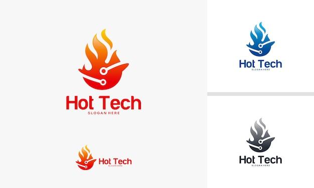Hot fire technology symbol vector Premium Vector