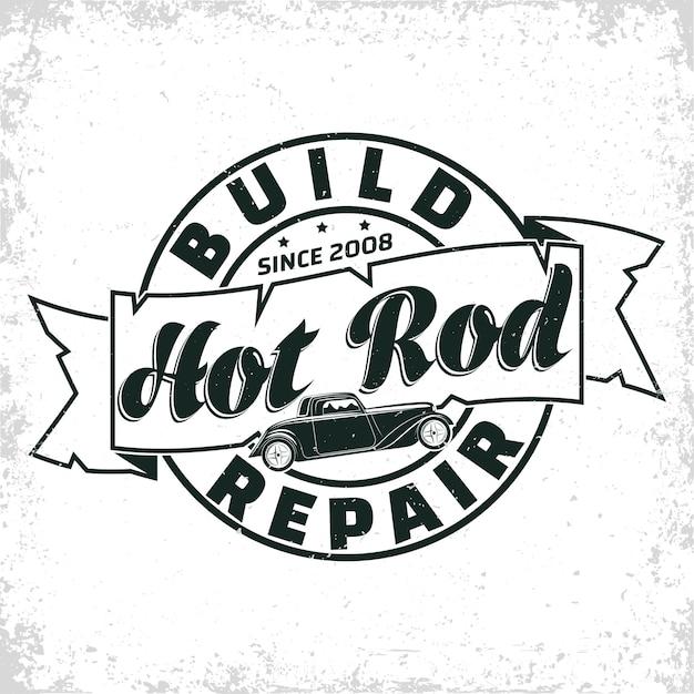 Hot rod garage illustratie Premium Vector