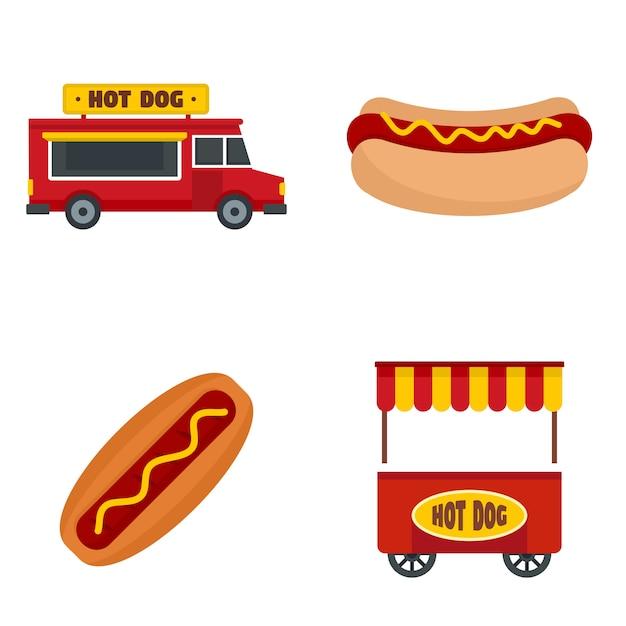 Hotdog icon set Premium Vector