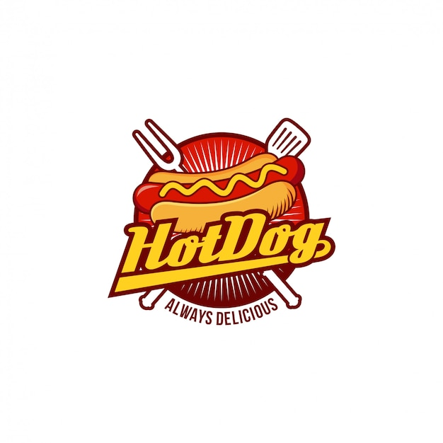 Hotdog logo badge Premium Vector