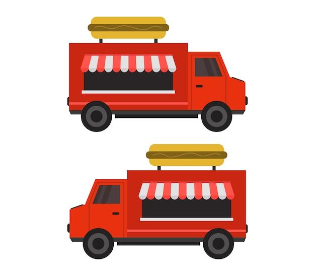 Hotdogvrachtwagen op wit Premium Vector