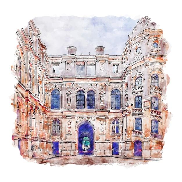Hotel de ville parijs frankrijk aquarel schets hand getrokken illustratie Premium Vector