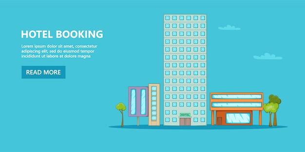 Hotel horizontale achtergrondhemel, beeldverhaalstijl Premium Vector