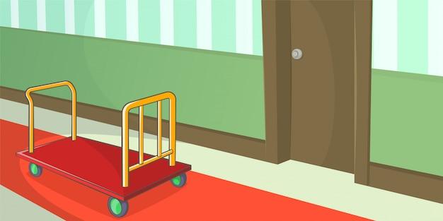 Hotel horizontale gang als achtergrond, beeldverhaalstijl Premium Vector