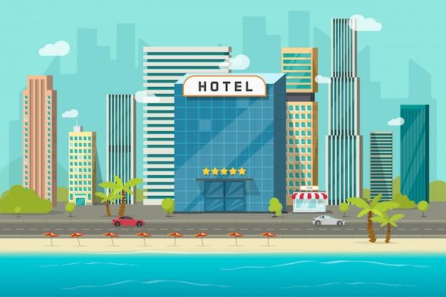 Hotel in de buurt van zee of oceaan resort bekijken vectorillustratie, platte cartoon hotelgebouw op strand, straat weg en grote wolkenkrabbers stad landschap, lettertype weergave stadsgezicht panorama Premium Vector