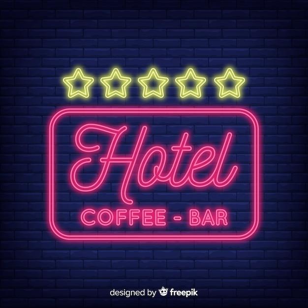 Hotel neon teken achtergrond Gratis Vector