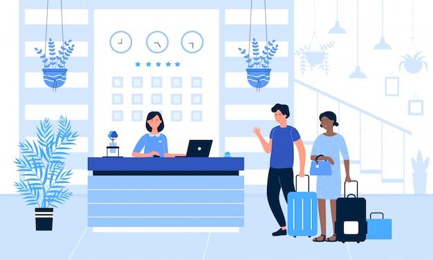 Hotel receptie illustratie, cartoon toerist of reiziger mensen staan aan de balie in de lobby van het kantoor interieur, praten met receptioniste achtergrond Premium Vector